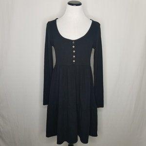 Round Neck LS Tiered Babydoll Mini Dress Black